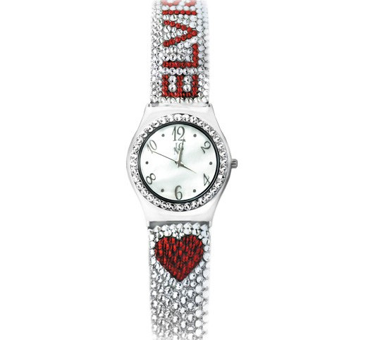 Heart Elvis Crystal Embellished Silvertone Watch by Sandy Martindale