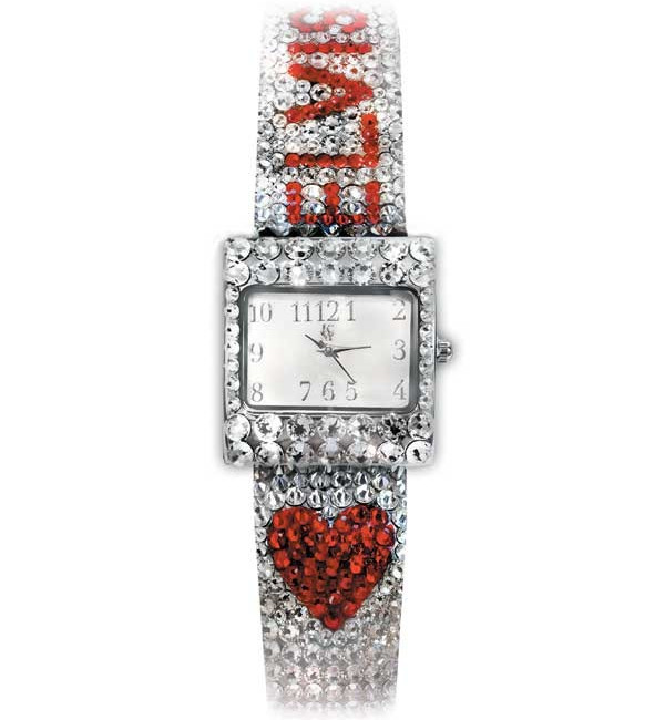 Heart Elvis Crystal Embellished Silvertone Small Watch by Sandy Martindale
